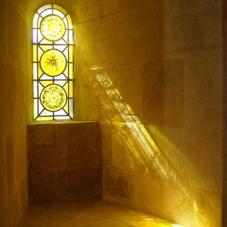stained glass window with light